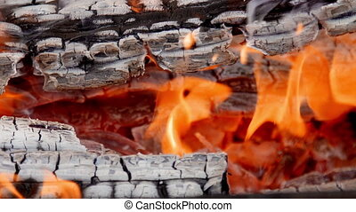 The flame of fire from the burning firewood in the...