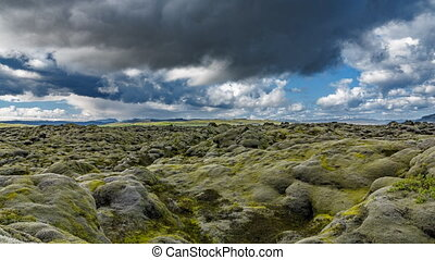 moss covered lava field loopable time-lapse in Iceland -...