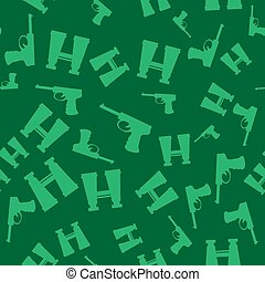 Weapon Seamless Pattern. Pistols and Binoculars