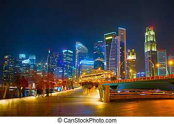 SIngapore Downtown in the evening