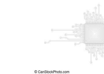 Abstract gray white background. Electric circuit cpu...