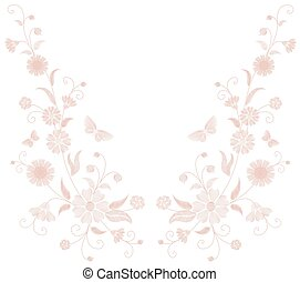 Delicate light pink beige flower embroidery. Field herb butterfly fashion textile print. Decorative ornate neutral patch necklace vector illustration