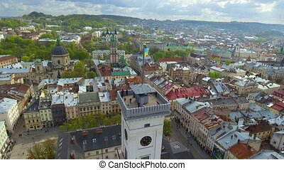 Aerial view of central hall and tower of Lviv, Ukraine -...