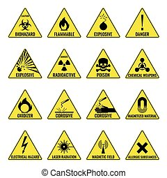 Hazard warning triangual yellow icon set on white - Hazard...