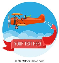 Biplane with pilot and big long poster for inscriptions