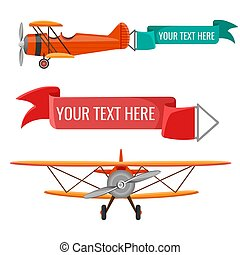 Two biplanes with advertising posters vector air means of...