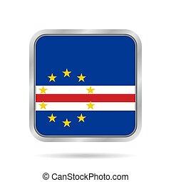 Flag of Cape Verde. Metallic gray square button.