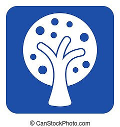 blue, white sign - stylized tree with fruits icon - blue...