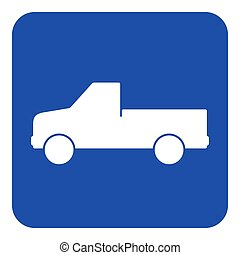 blue, white sign - pickup with a flatbed icon - blue rounded...