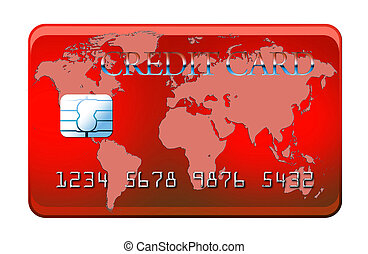 Red credit card with world map - isolated on white with clipping path