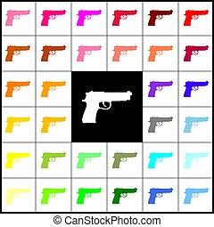 Ilustración, colorido, iconos, 33, arma de fuego, señal,...