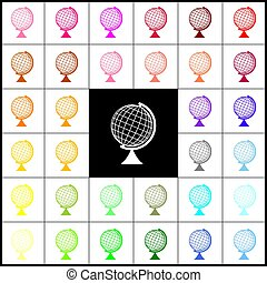 Earth Globe sign. Vector. Felt-pen 33 colorful icons at...