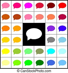 Speech bubble icon. Vector. Felt-pen 33 colorful icons at white and black backgrounds. Colorfull.