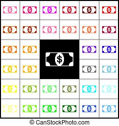 Bank Note dollar sign. Vector. Felt-pen 33 colorful icons at white and black backgrounds. Colorfull.