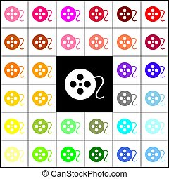 Film circular sign. Vector. Felt-pen 33 colorful icons at white and black backgrounds. Colorfull.