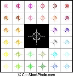 Wind rose sign. Vector. Felt-pen 33 colorful icons at white and black backgrounds. Colorfull.