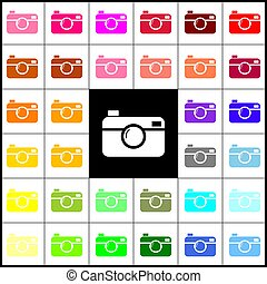 Digital photo camera sign. Vector. Felt-pen 33 colorful...