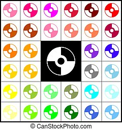 Vector CD or DVD sign. Vector. Felt-pen 33 colorful icons at...