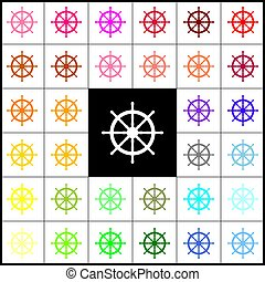Ship wheel sign. Vector. Felt-pen 33 colorful icons at white and black backgrounds. Colorfull.