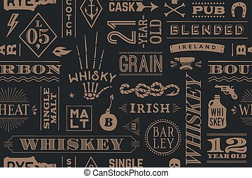 Seamless pattern with types of whiskey and hand drawn...