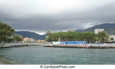 Mouth of the river in Rapallo, Italy, on a cloudy day