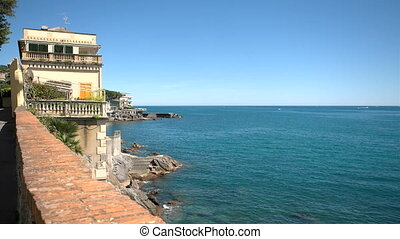 House on a cliff facing the sea in Rapallo