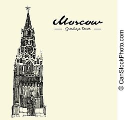 Moscow, Kremlin, Red Square, Engraved Illustration