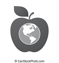 Isolated apple fruit with an America region world globe