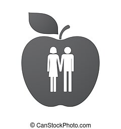 Isolated apple fruit with a heterosexual couple pictogram -...