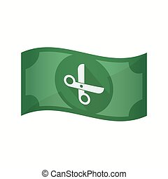 Isolated bank note with a scissors - Illustration of an...