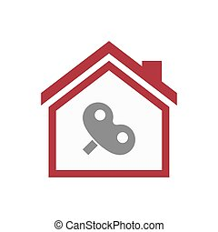 Isolated house with a toy crank - Illustration of an...