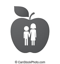 Isolated apple fruit with a childhood pictogram