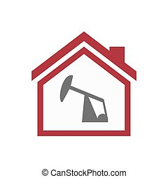 Isolated house with a horsehead pump - Illustration of an...