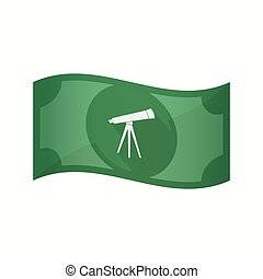 Isolated bank note with a telescope - Illustration of an...