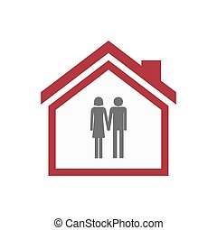 Isolated house with a heterosexual couple pictogram -...