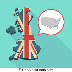 Long shadow UK map with  a map of the USA
