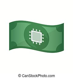 Isolated bank note with a cpu - Illustration of an isolated...