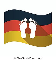 Isolated Germany flag with two footprints