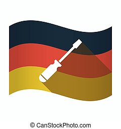 Isolated Germany flag with a screwdriver