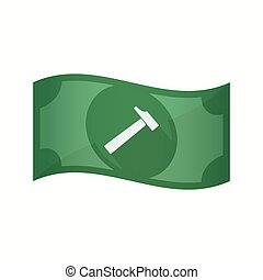 Isolated bank note with a hammer - Illustration of an...