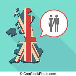 Long shadow UK map with a heterosexual couple pictogram -...