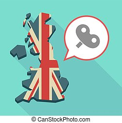 Long shadow UK map with a toy crank - Illustration of an...