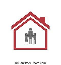 familia, padre,  Pictogram, casa, aislado, solo, hembra