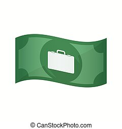 Isolated bank note with a briefcase - Illustration of an...