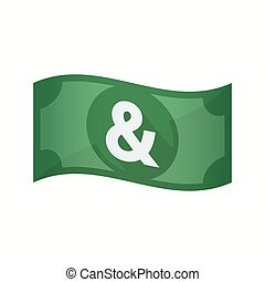 Isolated bank note with an ampersand - Illustration of an...