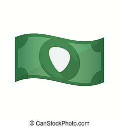 Isolated bank note with a plectrum - Illustration of an...
