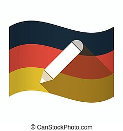 Isolated Germany flag with a pencil