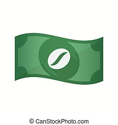 Isolated bank note with a coffee bean - Illustration of an...