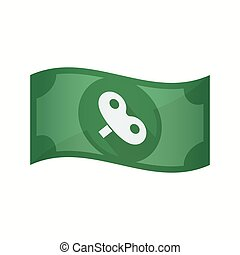 Isolated bank note with a toy crank - Illustration of an...