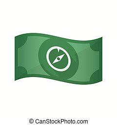 Isolated bank note with a compass - Illustration of an...